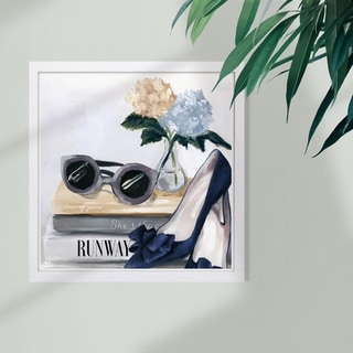 Wynwood Studio 'Her Collection' Fashion and Glam Framed Wall Art Print - Blue, Gray - 13 x 13