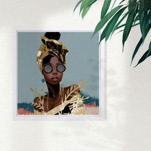 Wynwood Studio 'Dusty Blue Wraps' Fashion and Glam Framed Wall Art Print - Gold, Blue - 13 x 13