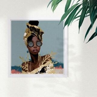 Wynwood Studio 'Dusty Blue Wraps' Fashion and Glam Framed Wall Art Print - Gold, Blue - 13 x 13