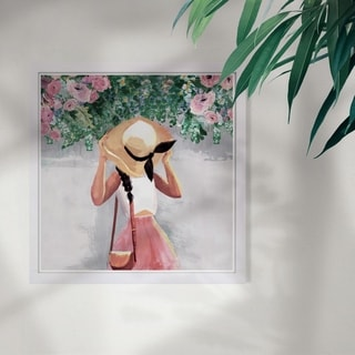 Wynwood Studio 'Spring Over My Head' Floral and Botanical Framed Wall Art Print - Pink, Green - 13 x 13