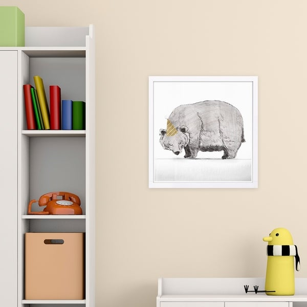 Wynwood Studio 'Party Time Bear' Animals Framed Wall Art Print - Gray, Gold - 13 x 13