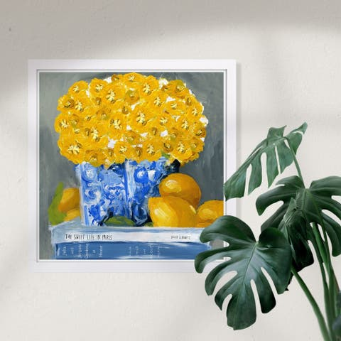 Wynwood Studio 'Cook Book Love Square' Floral and Botanical Framed Wall Art Print - Yellow, Blue - 13 x 13
