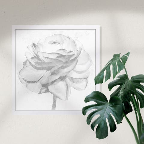 Wynwood Studio 'White Silver Peony' Floral and Botanical Framed Wall Art Print - White, Gray