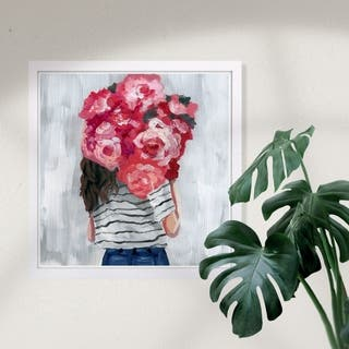 Wynwood Studio 'Flower Delivery Girl' Fashion and Glam Framed Wall Art Print - Pink, White - 13 x 13