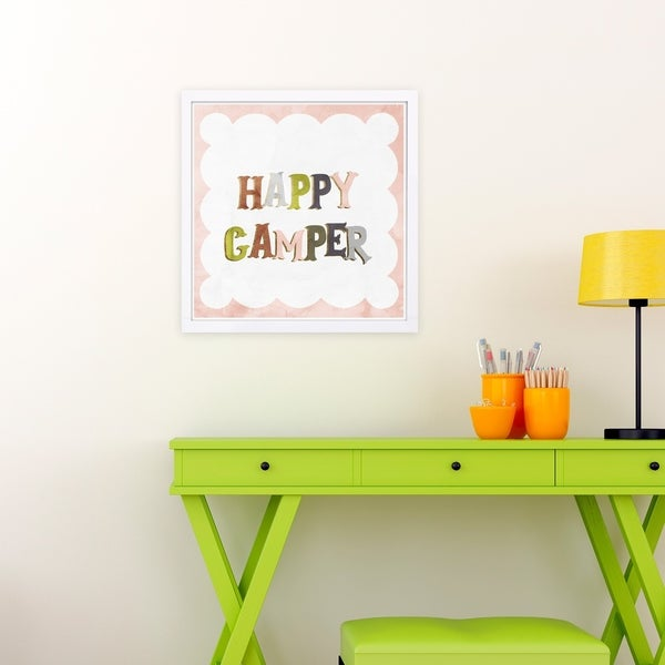 Wynwood Studio 'Happy Camper' Typography and Quotes Framed Wall Art Print - Pink, Green - 13 x 13