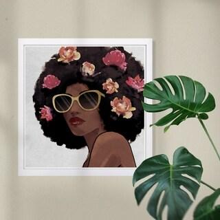 Wynwood Studio 'Flowers to Inspire Shades' Fashion and Glam Framed Wall Art Print - Black, Pink - 13 x 13