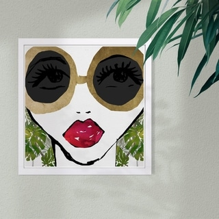 Wynwood Studio 'Ready For The Jungle' Fashion and Glam Framed Wall Art Print - Gold, Green - 13 x 13