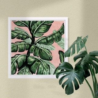 Wynwood Studio 'Blush Toned Leaves Square' Floral and Botanical Framed Wall Art Print - Green, Pink - 13 x 13