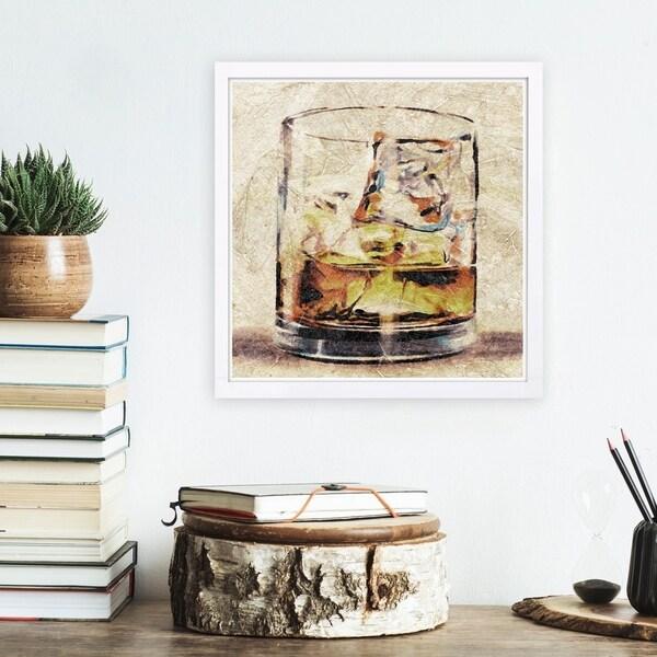 Wynwood Studio 'Scotch Glass' Drinks and Spirits Framed Wall Art Print - Brown, Brown - 13 x 13