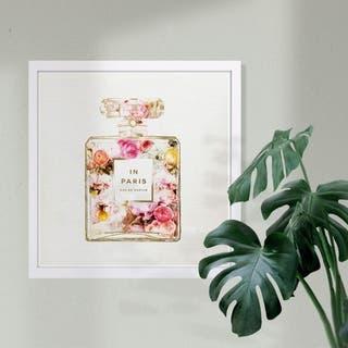 Wynwood Studio 'Paris Floral Perfume' Fashion and Glam Framed Wall Art Print - Pink, Gray - 13 x 13