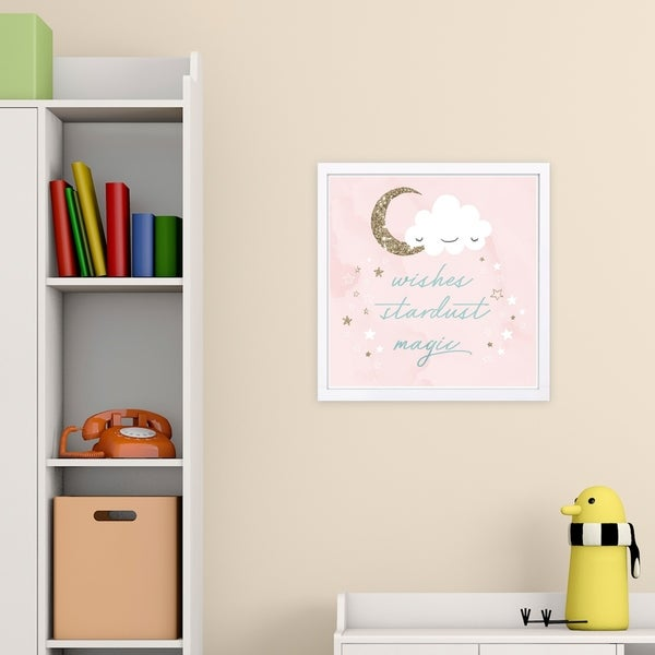 Wynwood Studio 'Wishes Stardust Magic' Typography and Quotes Framed Wall Art Print - Pink, Gold - 13 x 13