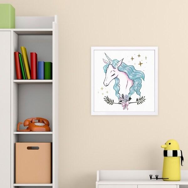 Wynwood Studio 'Beautiful Magical Unicorn Aqua' Fantasy and Sci-Fi Framed Wall Art Print - Pink, Blue - 13 x 13
