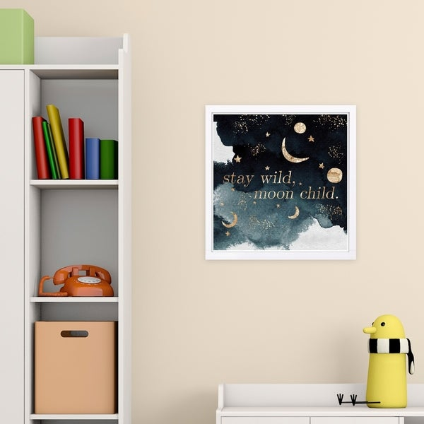 Wynwood Studio 'Stay Wild' Typography and Quotes Framed Wall Art Print - Black, Gold - 13 x 13
