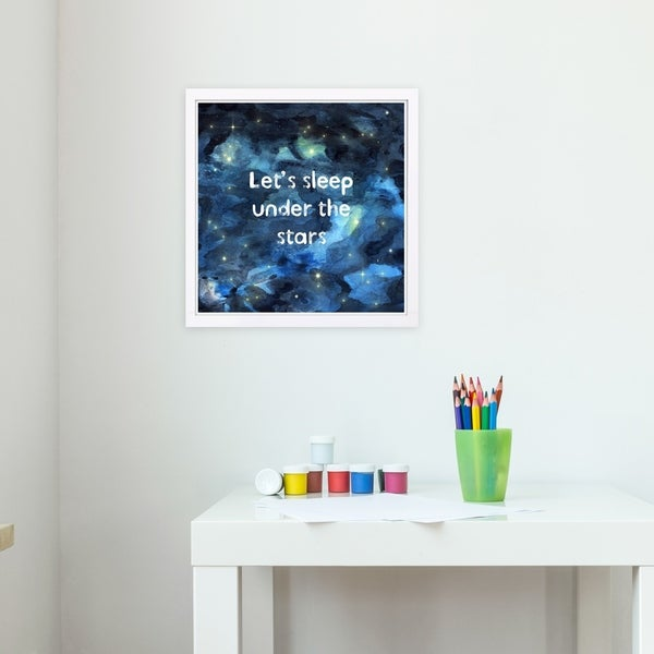 Wynwood Studio 'Sleep Under the Stars' Typography and Quotes Framed Wall Art Print - Blue, Blue - 13 x 13