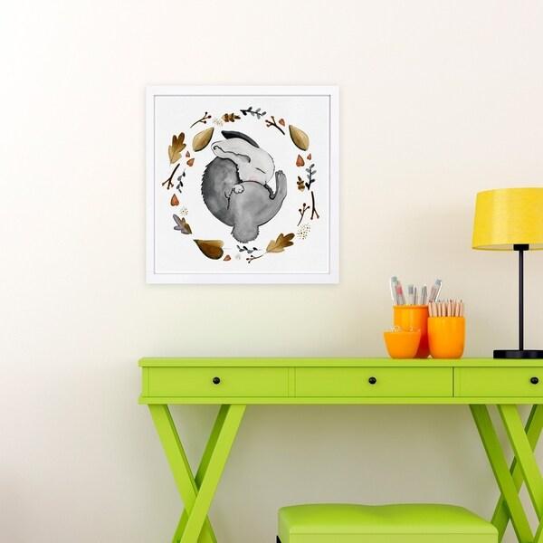 Wynwood Studio 'Sleeping Bunny' Animals Framed Wall Art Print - Gray, Gold - 13 x 13