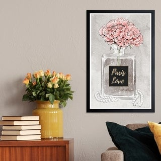 Wynwood Studio 'Vase of Fragrance' Fashion and Glam Framed Wall Art Print - Pink, Gray - 13 x 19