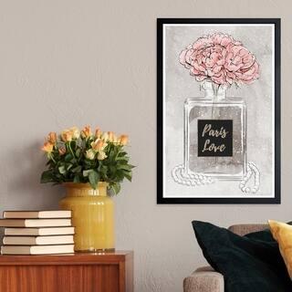 Wynwood Studio 'Vase of Fragrance' Fashion and Glam Framed Wall Art Print - Pink, Gray - 13 x 19