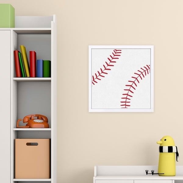 Wynwood Studio 'Baseball' Sports and Teams Framed Wall Art Print - White, Red - 13 x 13