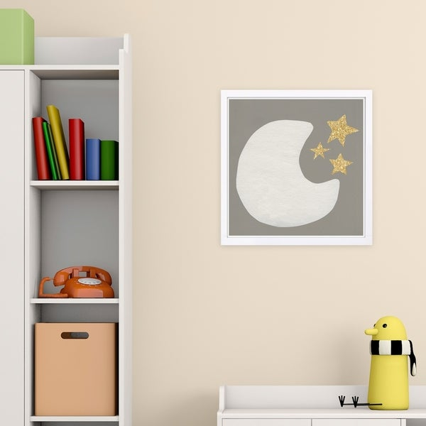Wynwood Studio 'Moon and Stars' Astronomy and Space Framed Wall Art Print - Gray, White - 13 x 13