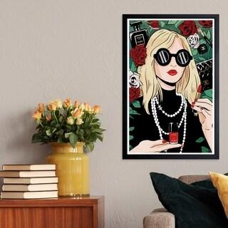 Wynwood Studio 'Portrait of a French Girl' Fashion and Glam Framed Wall Art Print - Black, Red - 13 x 19