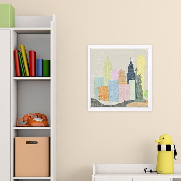 Wynwood Studio 'New York Color City' Cities and Skylines Framed Wall Art Print - Blue, Yellow - 13 x 13