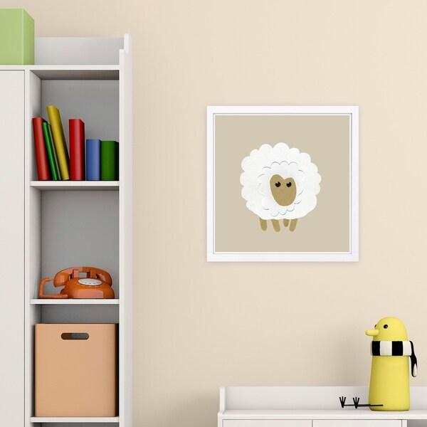 Wynwood Studio 'Sheep' Animals Framed Wall Art Print - White, Brown - 13 x 13
