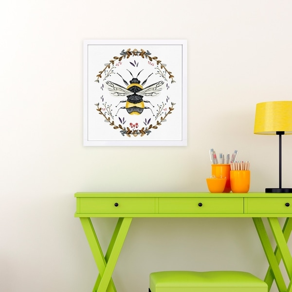 Wynwood Studio 'Bumblebee' Animals Framed Wall Art Print - Gold, White - 13 x 13