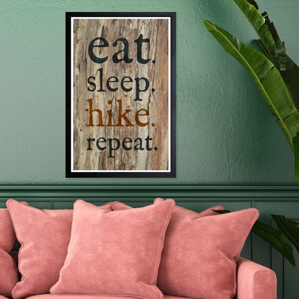 Wynwood Studio 'Eat Sleep Hike Repeat' Typography and Quotes Framed Wall Art Print - Black, Brown - 13 x 19