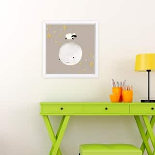 Wynwood Studio 'Sheep Jumping Over The Moon' Animals Framed Wall Art Print - White, Brown - 13 x 13
