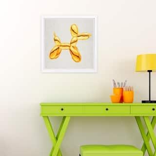 Wynwood Studio 'Balloon Dog Lux' Animals Framed Wall Art Print - Gold, Gray - 13 x 13