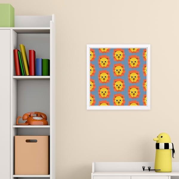 Wynwood Studio 'Lion Pattern' Animals Framed Wall Art Print - Orange, Yellow - 13 x 13