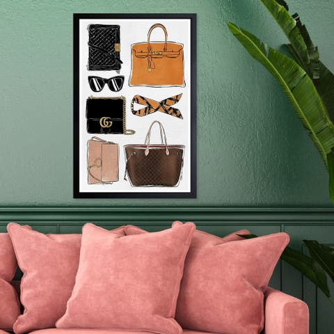 Wynwood Studio 'My Purse Collection' Fashion and Glam Framed Wall Art Print - Orange, Brown