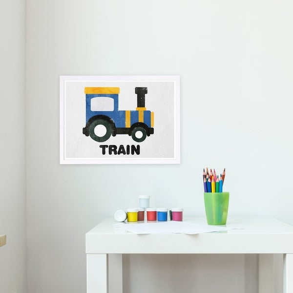 Wynwood Studio 'Train Round' Transportation Framed Wall Art Print - Blue, Yellow - 19 x 13