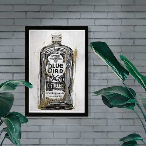 Wynwood Studio 'Bird Gin Night' Drinks and Spirits Framed Wall Art Print - Black, White