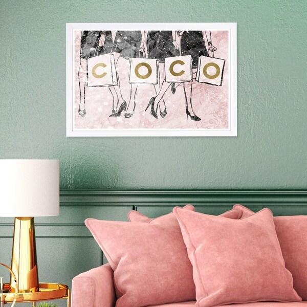Wynwood Studio 'Shopping Girls Luxe Blush' Fashion and Glam Framed Wall Art Print - Pink, Gold - 19 x 13