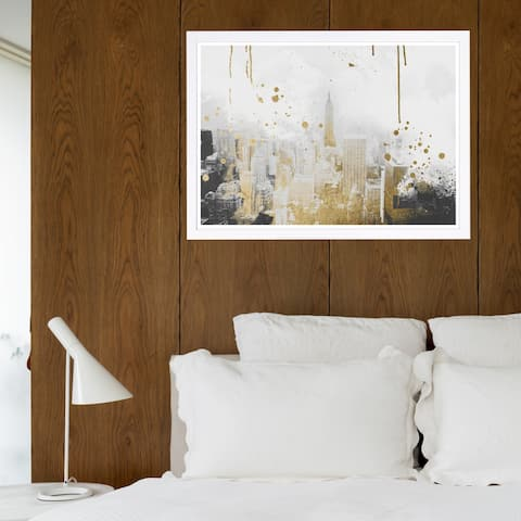 Wynwood Studio 'Golden City Lights' Cities and Skylines Framed Wall Art Print - Gray, Gold - 19 x 13