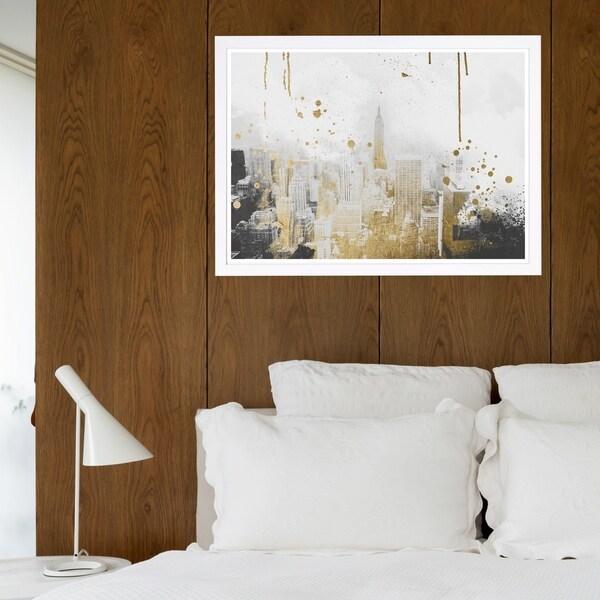 Wynwood Studio 'Golden City Lights' Cities and Skylines Framed Wall Art Print - Gray, Gold - 19 x 13