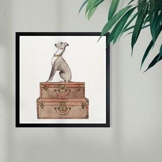 Wynwood Studio 'Luxury Greyhound' Fashion and Glam Framed Wall Art Print - Brown, White - 13 x 13