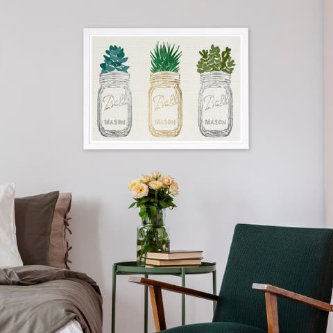 Wynwood Studio 'Mason Jars and Succulents' Floral and Botanical Framed Wall Art Print - Green, Gray - 19 x 13