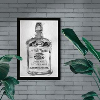 Wynwood Studio 'Bourbon Whiskey Night Silver' Drinks and Spirits Framed Wall Art Print - Black, Gray - 13 x 19
