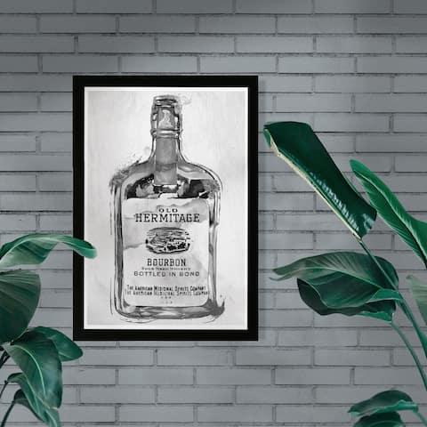 Wynwood Studio 'Bourbon Whiskey Night Silver' Drinks and Spirits Framed Wall Art Print - Black, Gray