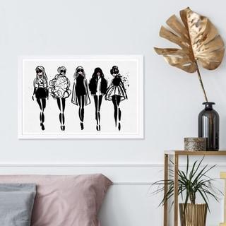Wynwood Studio 'Girl Line Up' Fashion and Glam Framed Wall Art Print - Black, Gray - 19 x 13