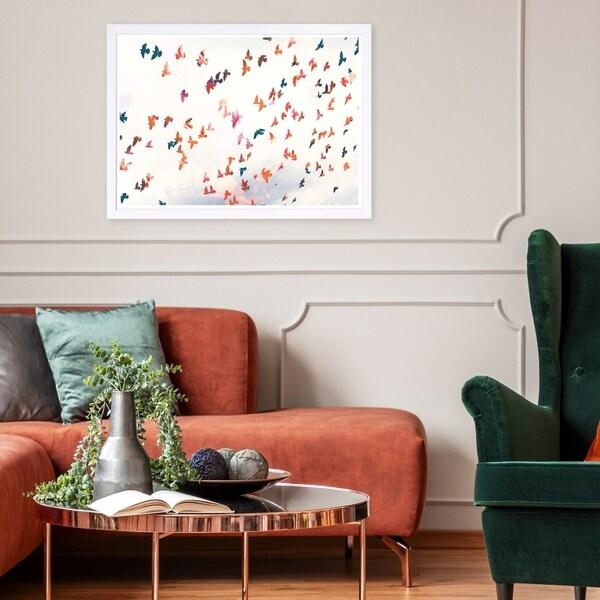 Wynwood Studio 'Birds in the Fall' Animals Framed Wall Art Print - White, Orange - 19 x 13