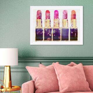 Wynwood Studio 'Lipsticks' Fashion and Glam Framed Wall Art Print - Pink, Gold - 19 x 13