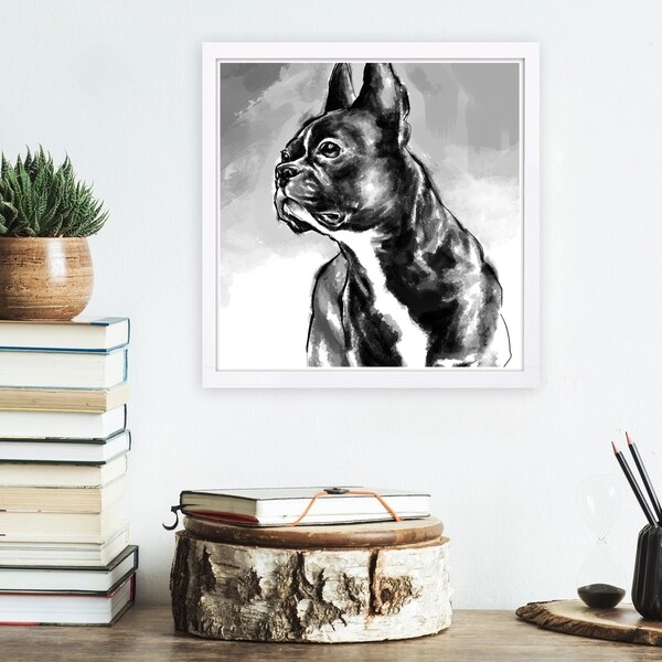 Wynwood Studio 'French Bulldog' Animals Framed Wall Art Print - Black, White - 13 x 13