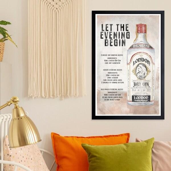 Wynwood Studio 'Gin Recipes' Drinks and Spirits Framed Wall Art Print - Brown, Gray - 13 x 19