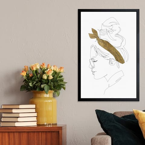 Wynwood Studio 'Contour Phase II' Fashion and Glam Framed Wall Art Print - White, Gold - 13 x 19