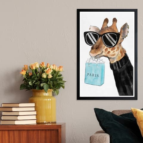 Wynwood Studio 'Fabulous Giraffe' Animals Framed Wall Art Print - Black, Brown