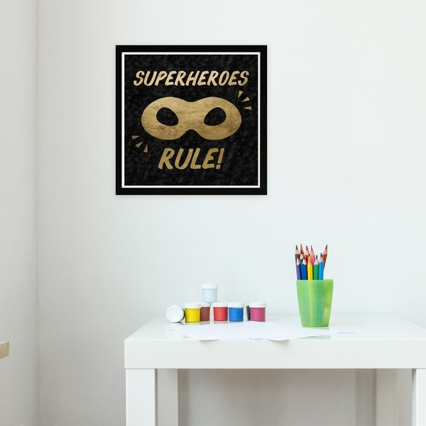 Wynwood Studio 'Superheroes Rule Black Velvet' Fantasy and Sci-Fi Framed Wall Art Print - Gold, Black - 13 x 13