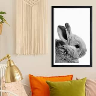 Wynwood Studio 'Bunny Ears' Animals Framed Wall Art Print - Gray, White - 13 x 19